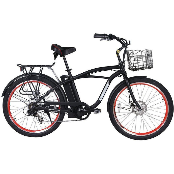X-Treme Newport Elite 24V Electric Beach Cruiser Bike (black)