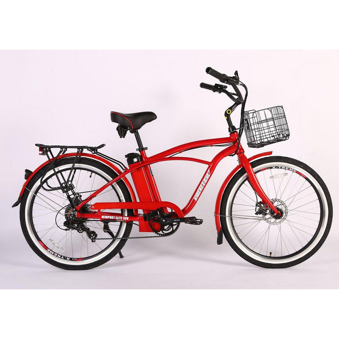 X-Treme Newport Elite Max 36V Electric Beach Cruiser Bike (metallic red)