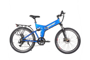 X-Treme X-Cursion Elite 24V Full-Suspension Folding Electric Mountain Bike (blue)