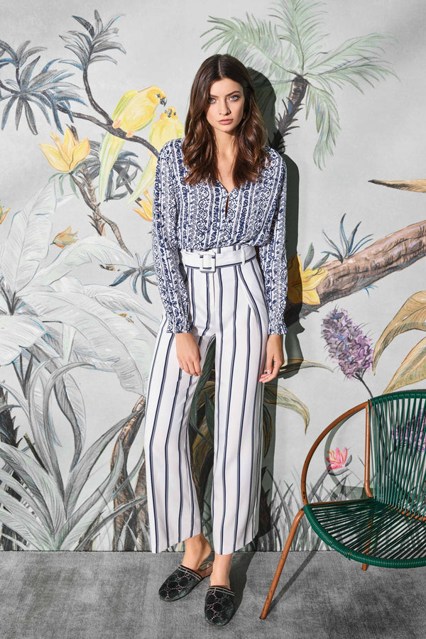 Striped, wide-legged trousers