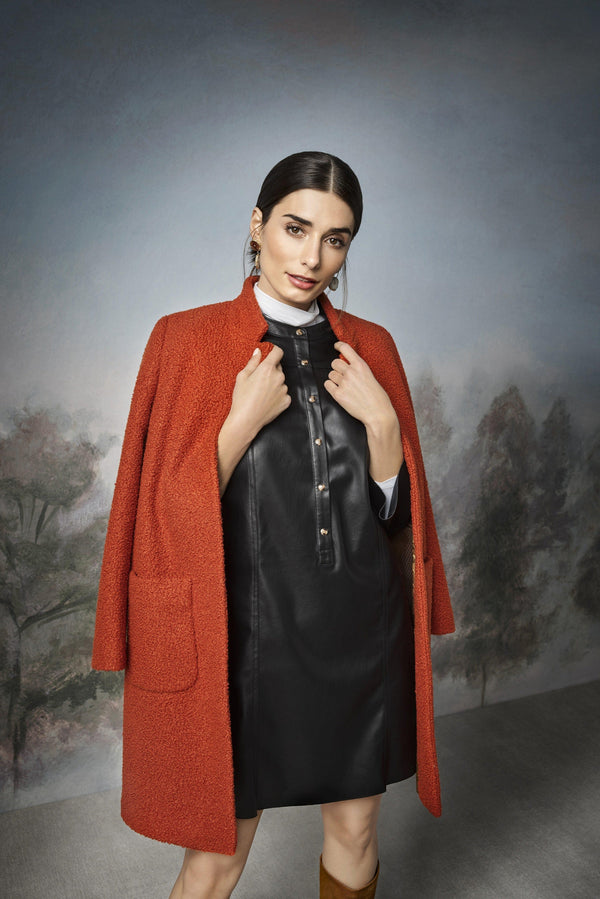 Rich & Royal - Dress in imitation leather with stand-up collar - campaign image