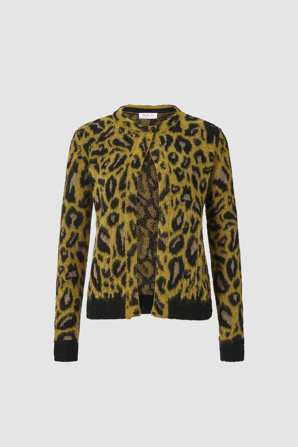 Leopard-print cardigan with press stud