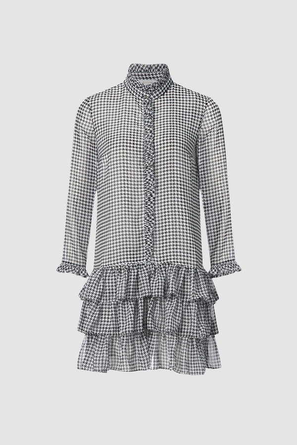 Houndstooth dress with ruffle