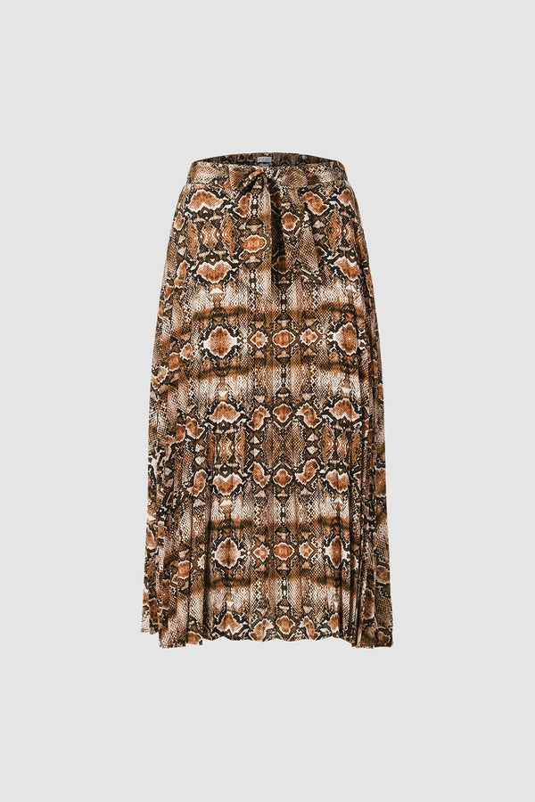 Pleated skirt with snakeskin print