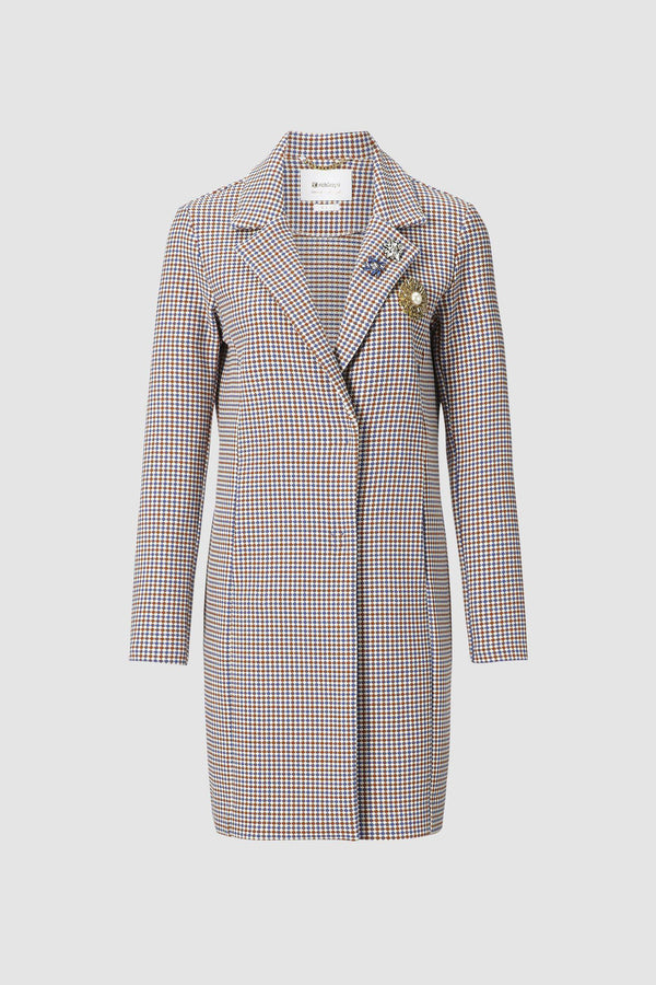 Checked coat with brooch details