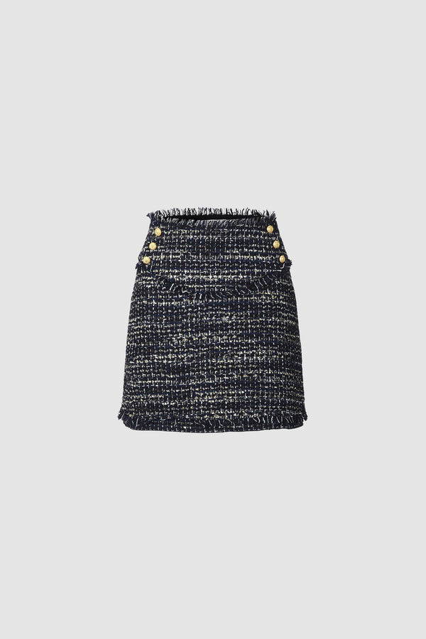 Bouclé mini skirt with metallic threads