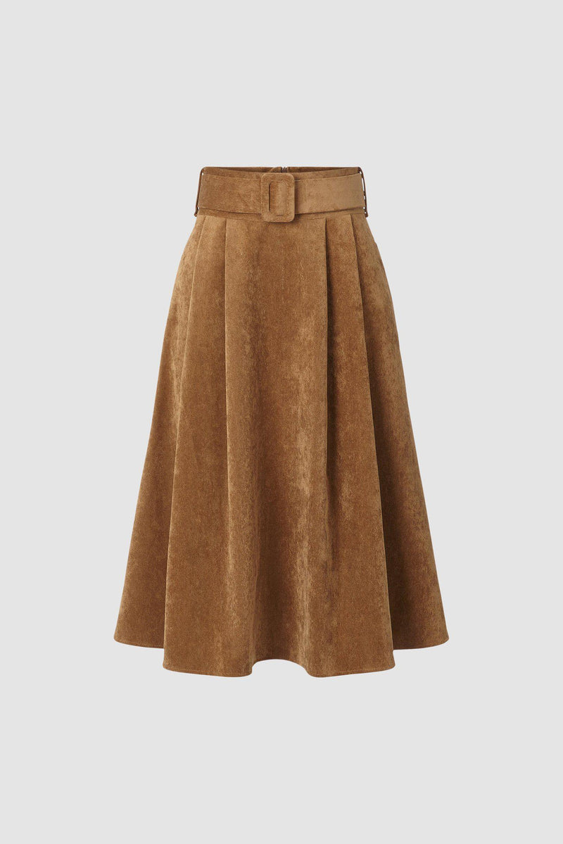 Cord skirt with belt