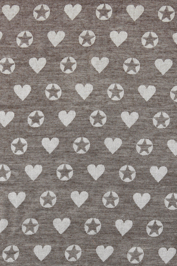 Scarf with woven star and heart motifs