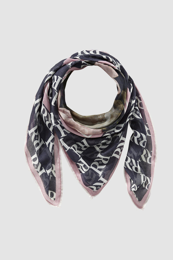 Logo scarf with floral print