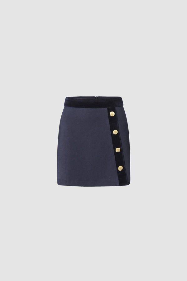 Mini skirt with gold-coloured buttons