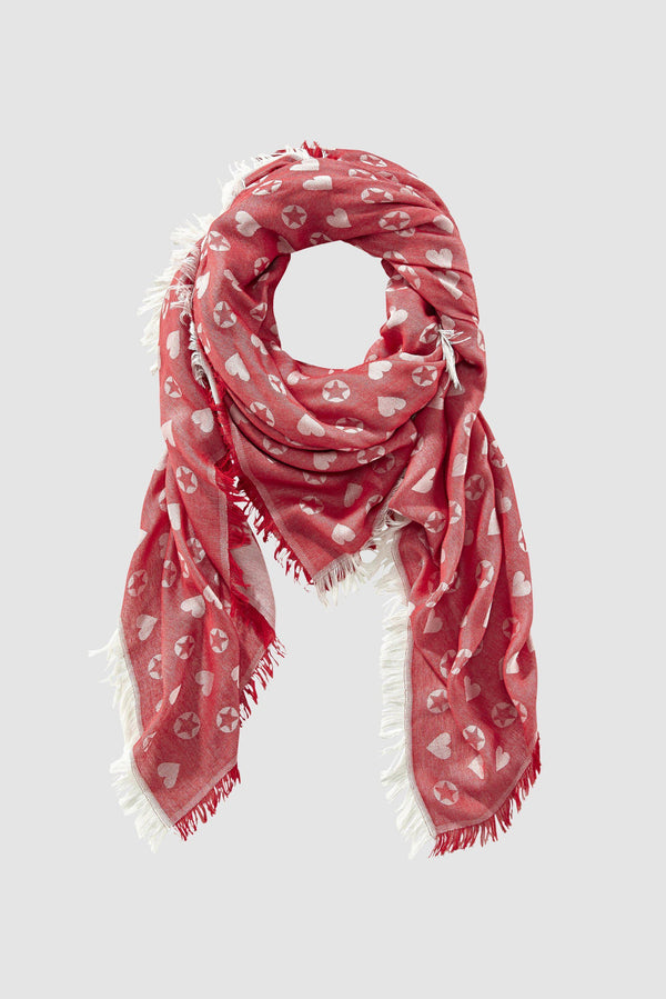 Jacquard scarf with star and heart motifs