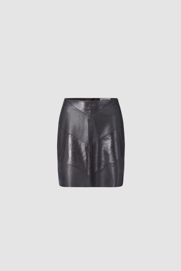 Mini skirt in mix of leather looks