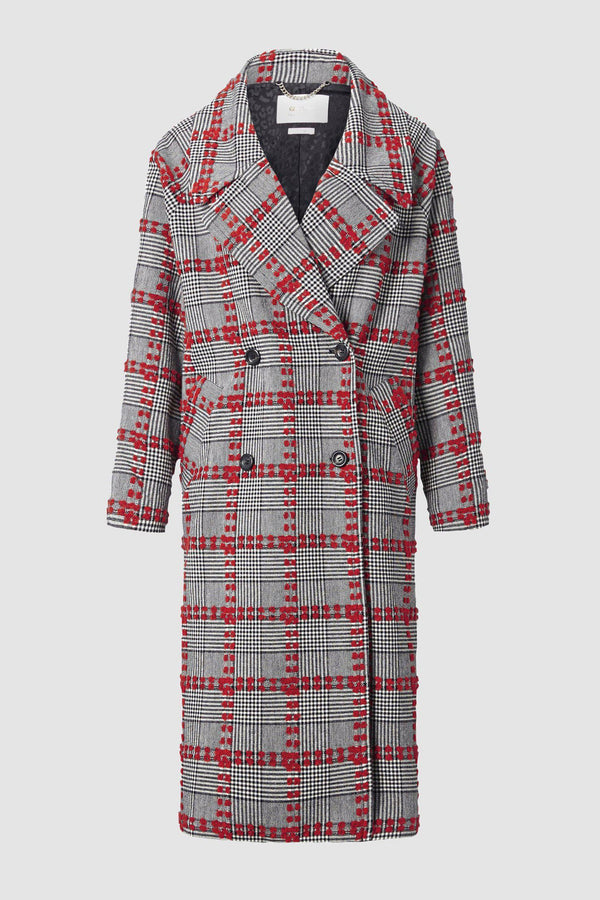 Checked coat with oversized lapel collar