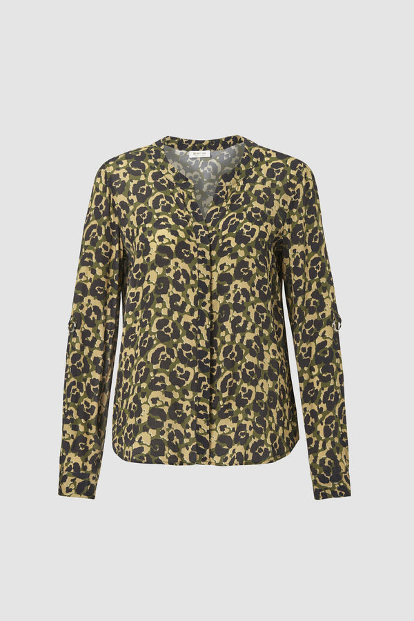 Leopard print blouse with piping