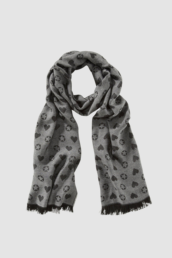 Scarf with woven pattern and shimmer effect