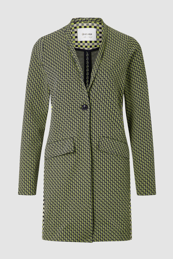 Long jacquard blazer with graphic pattern