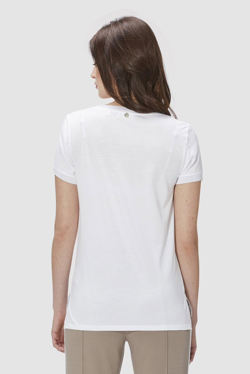 T-shirt with crêpe-look front