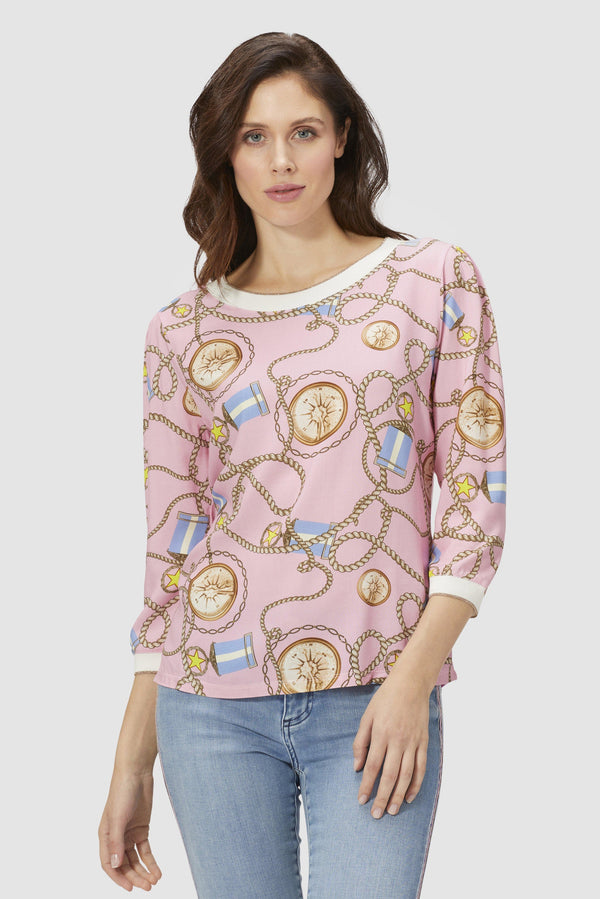 Long-sleeved top with maritime print