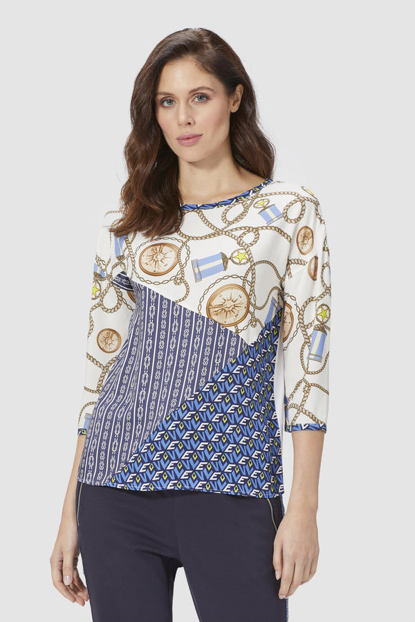 Patchwork top in mix of patterns