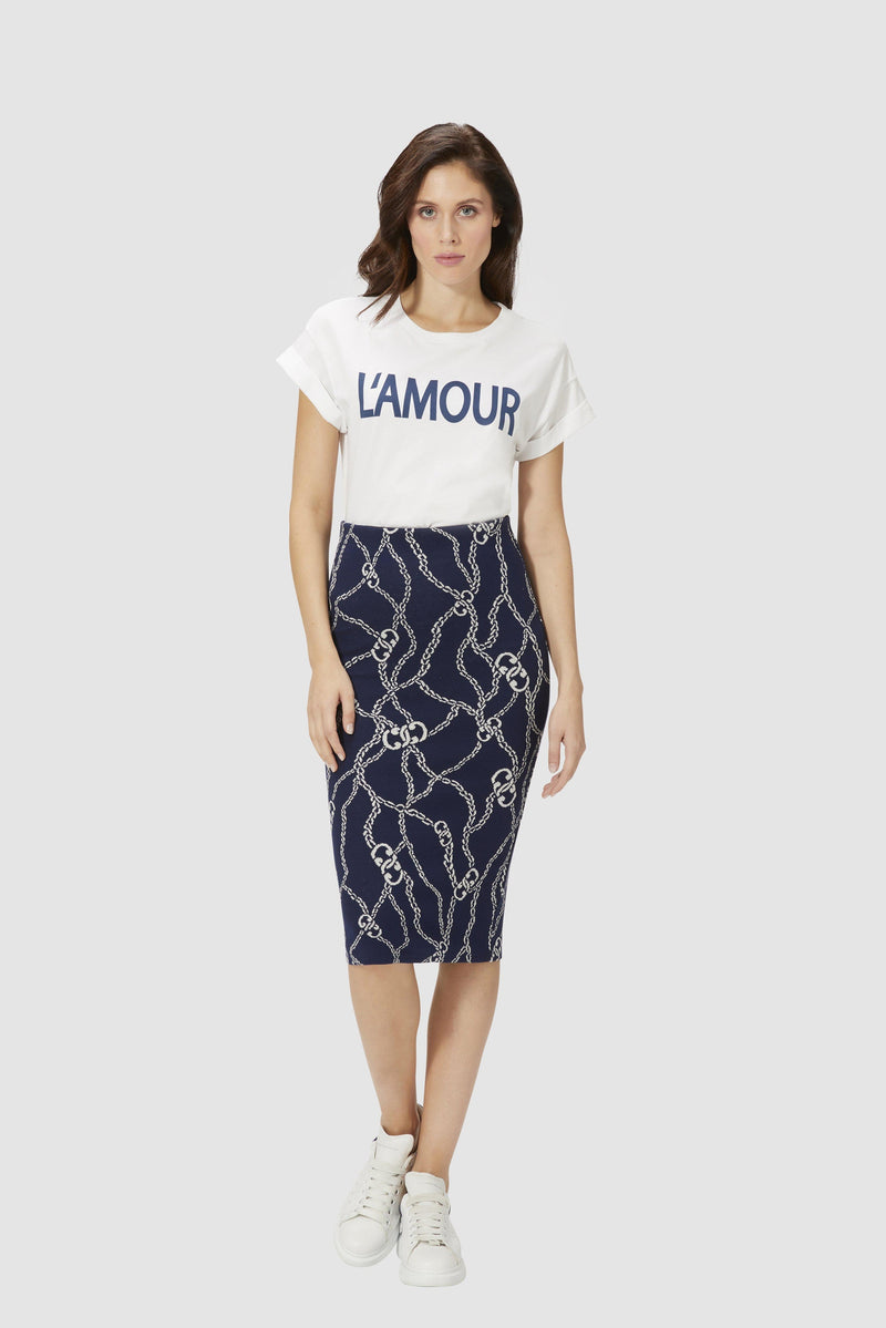 Pencil skirt with chain motif