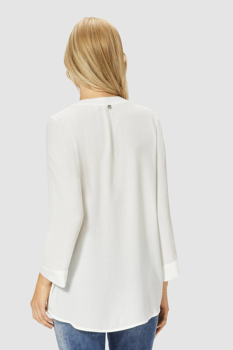 Blouse with ribbed hem and cuffs
