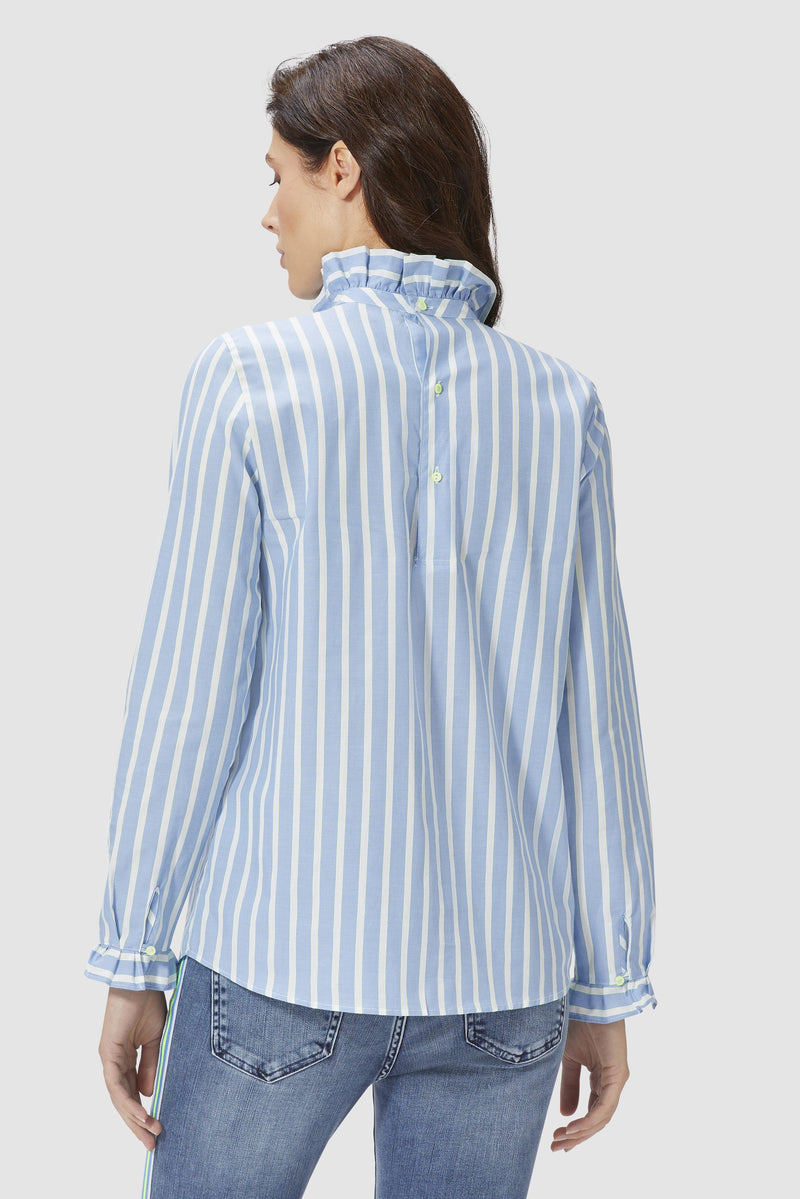Striped blouse with frilled collar