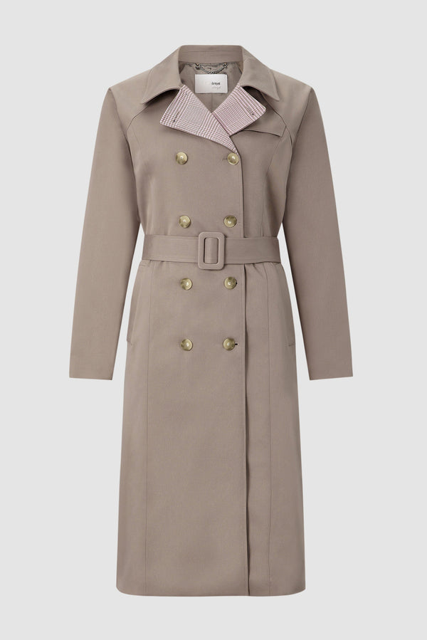 Trench coat with contrasting Prince-of-Wales check