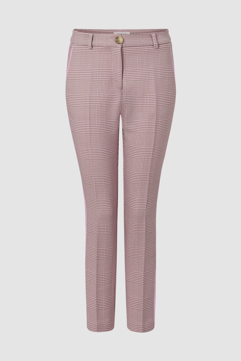 Prince-of-Wales check trousers with contrasting stripes