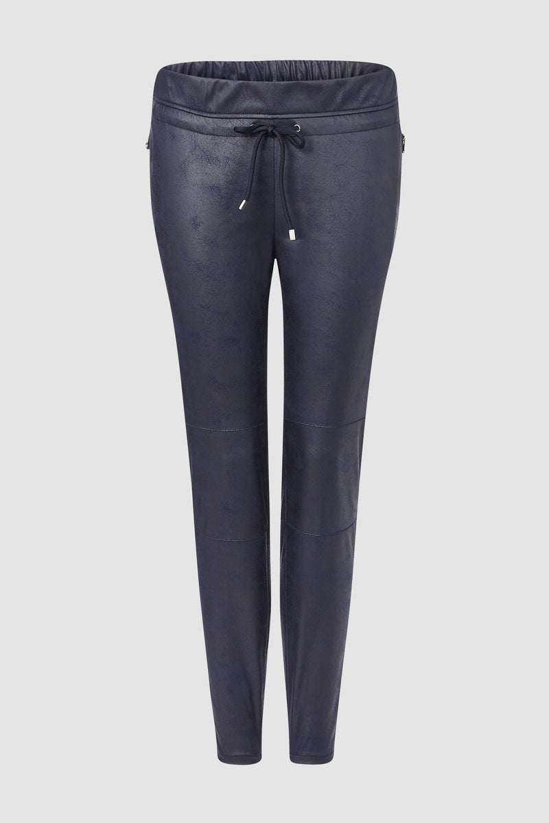 Refined jogger-style trousers in leather look