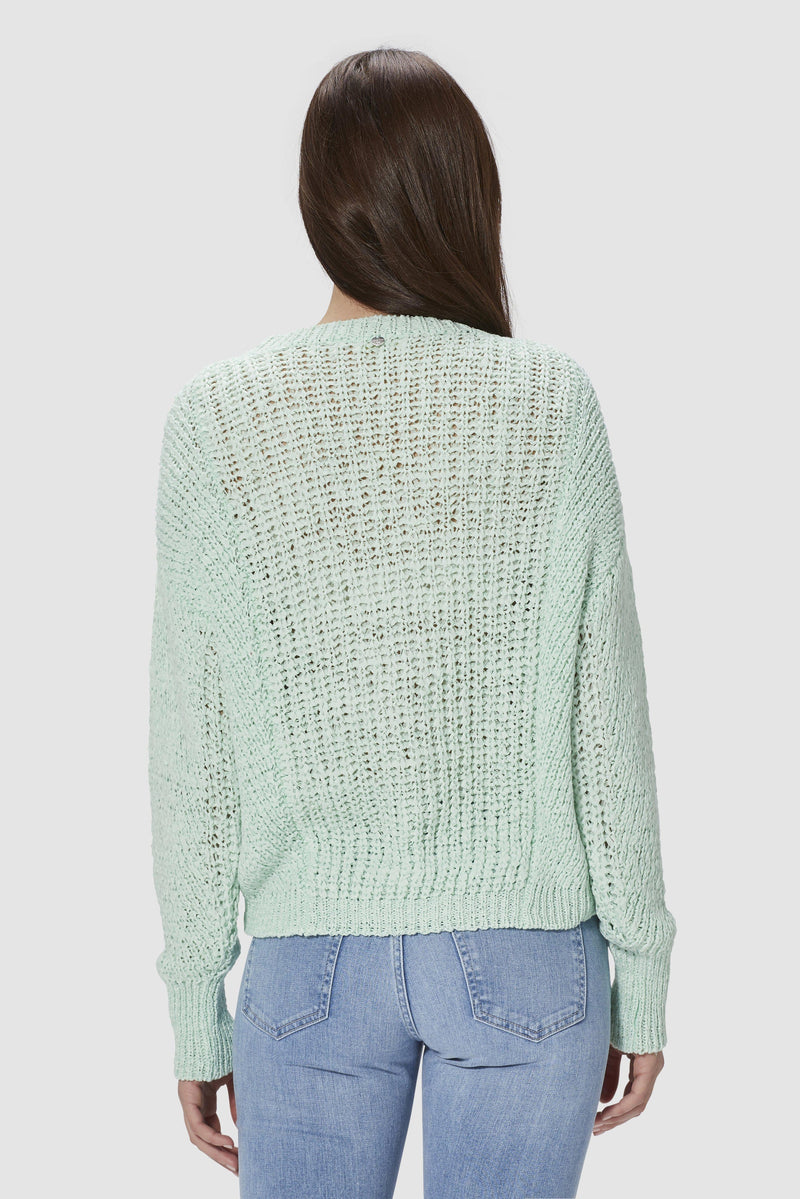 Round neck jumper in ribbon yarn