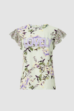 T-shirt with floral print and rhinestones