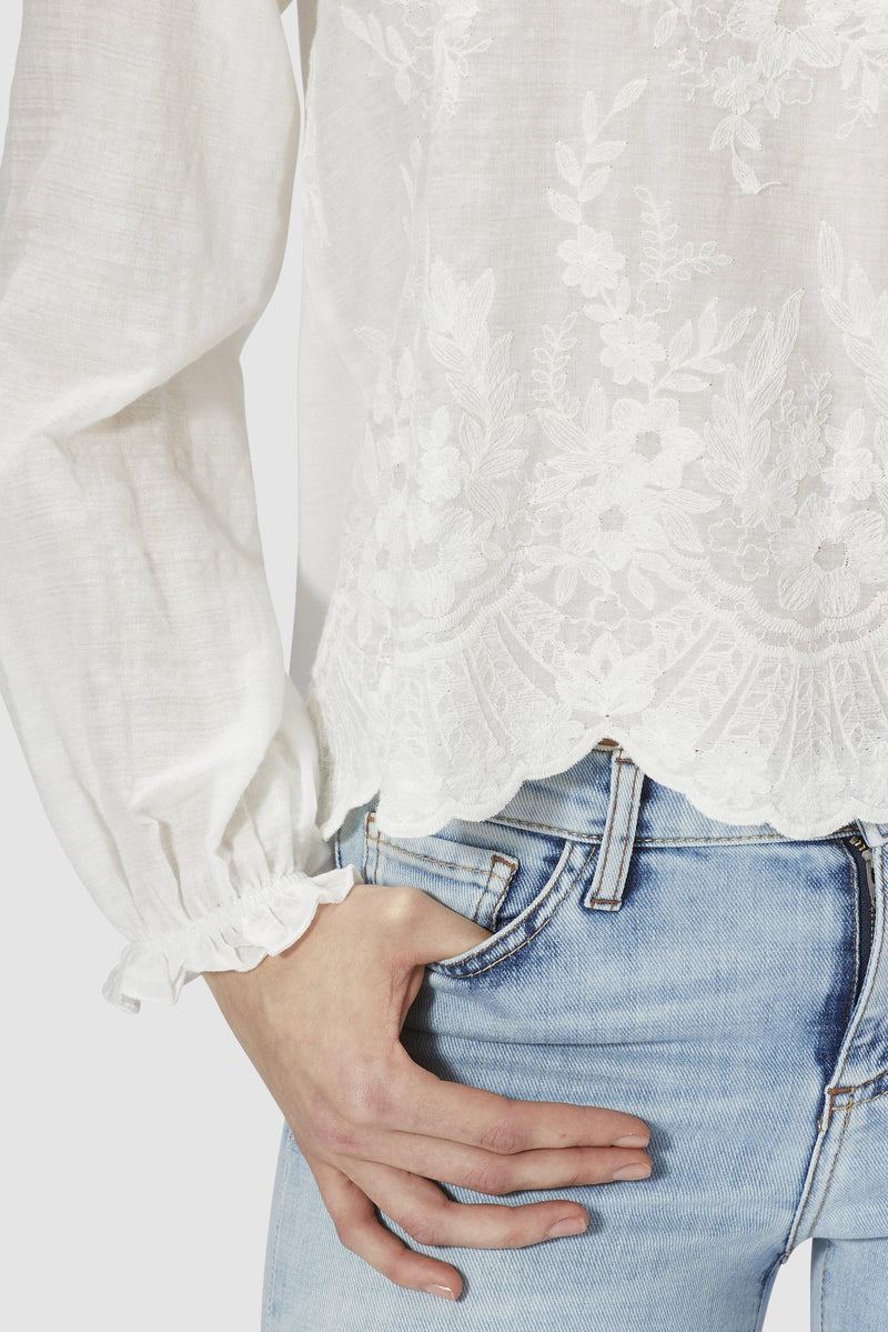 Long-sleeved embroidered top