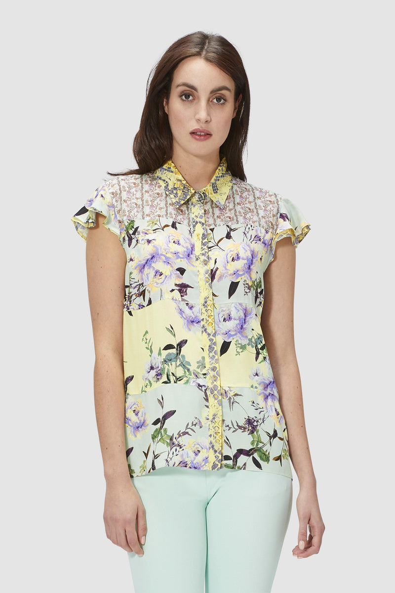 Printed blouse with cap sleeves