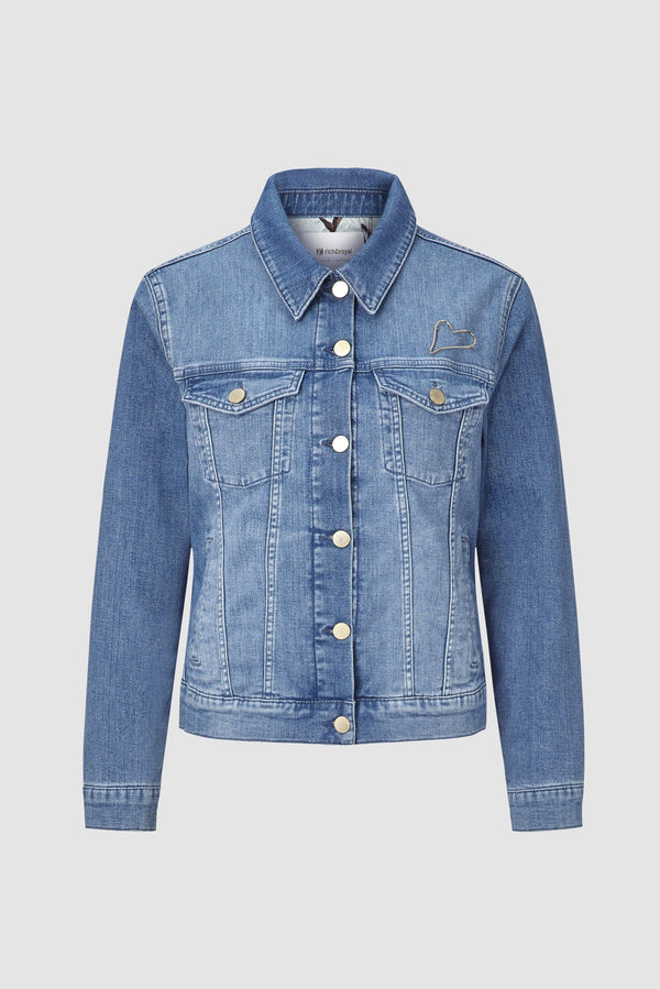 Denim jacket with floral lining