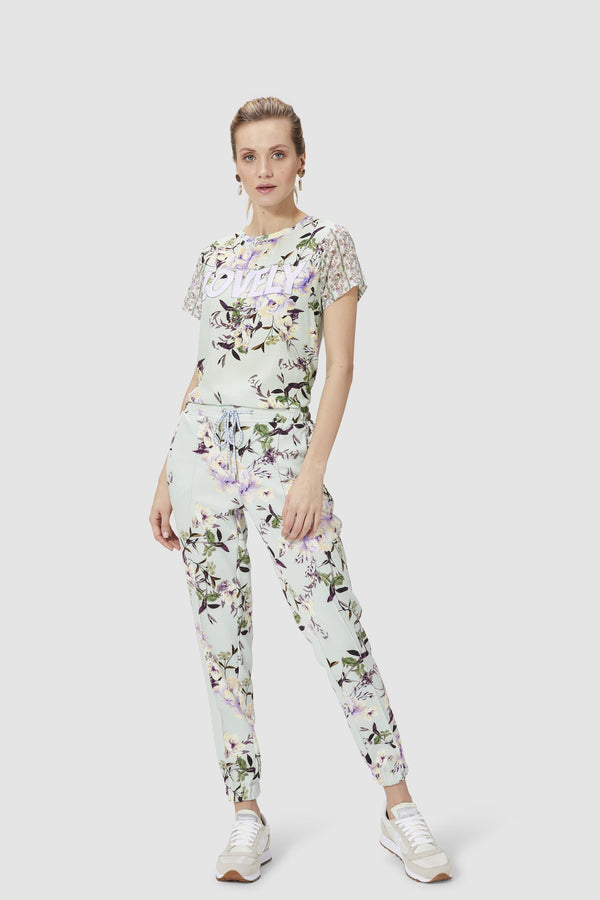 Scuba trousers with floral print