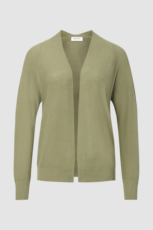 Fine-knit cardigan in open-fronted style