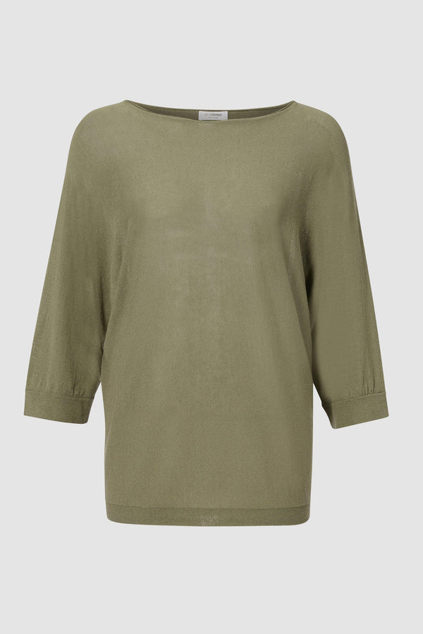 Jumper with half-length sleeves and boat neckline