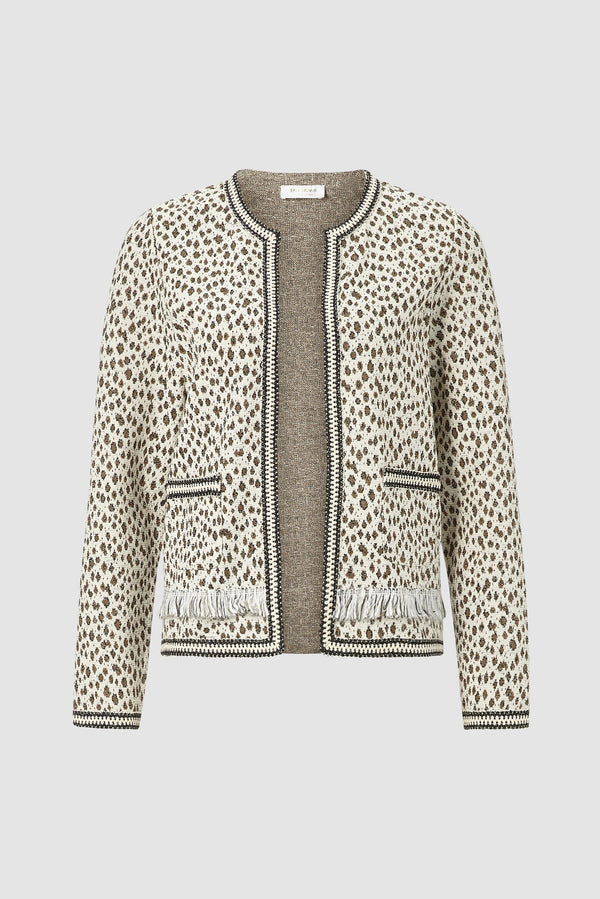 Fringed leopard-print jacket in sweatshirt material