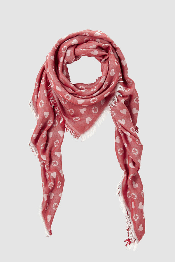Scarf with woven star and heart motif
