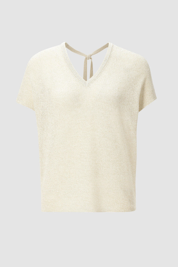 Lurex top with tie band details