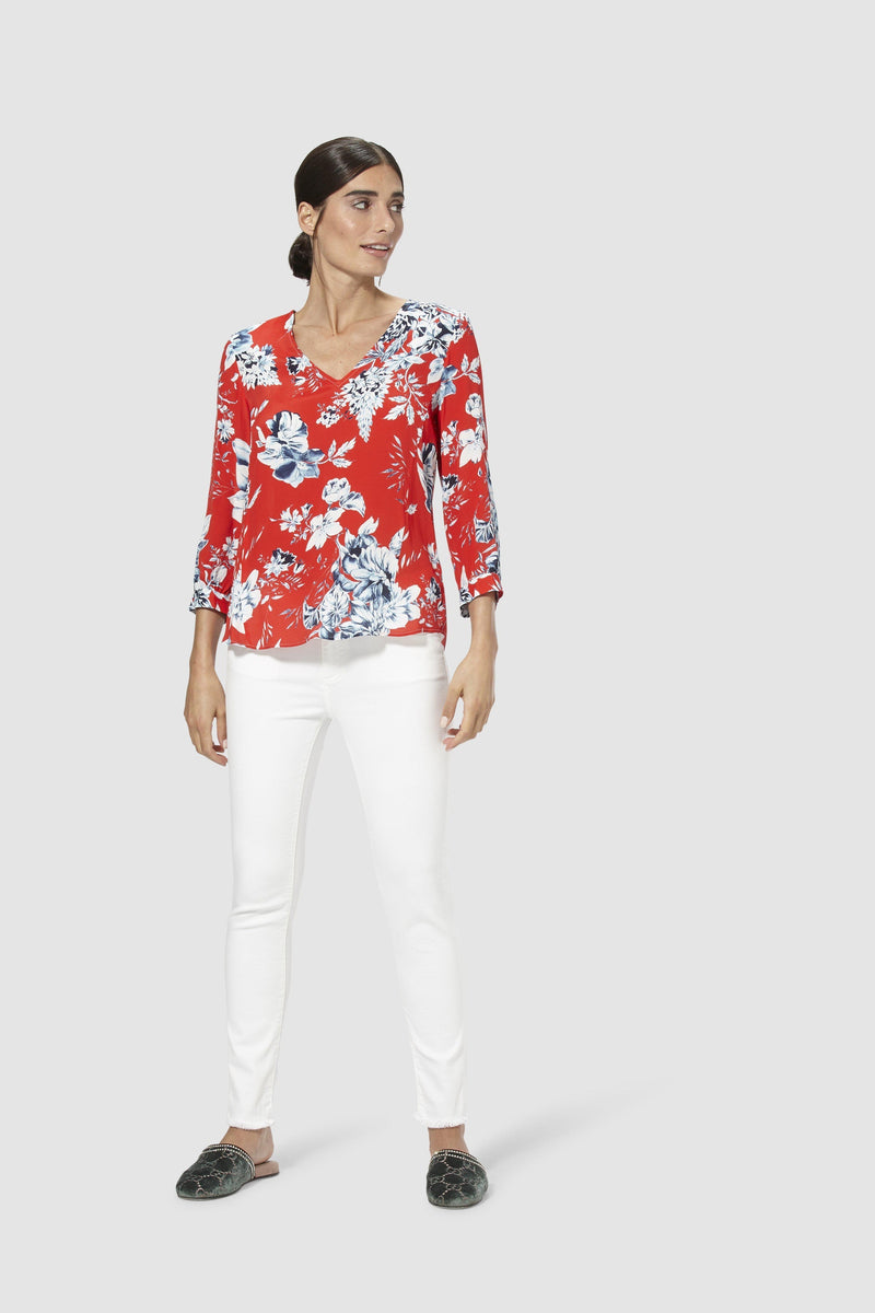 Blouse with floral print