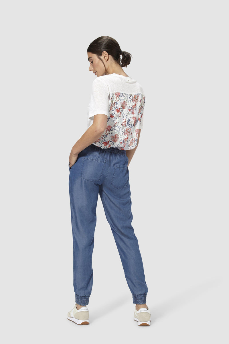 Flowing lyocell jogger-style trousers