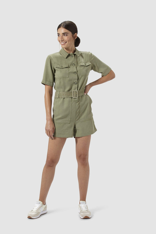 Short khaki jumpsuit