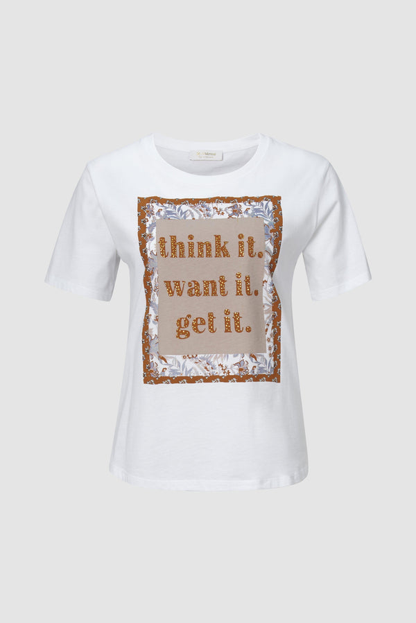 "Rich & Royal - ""think it. want it. get it."" statement shirt - bust"