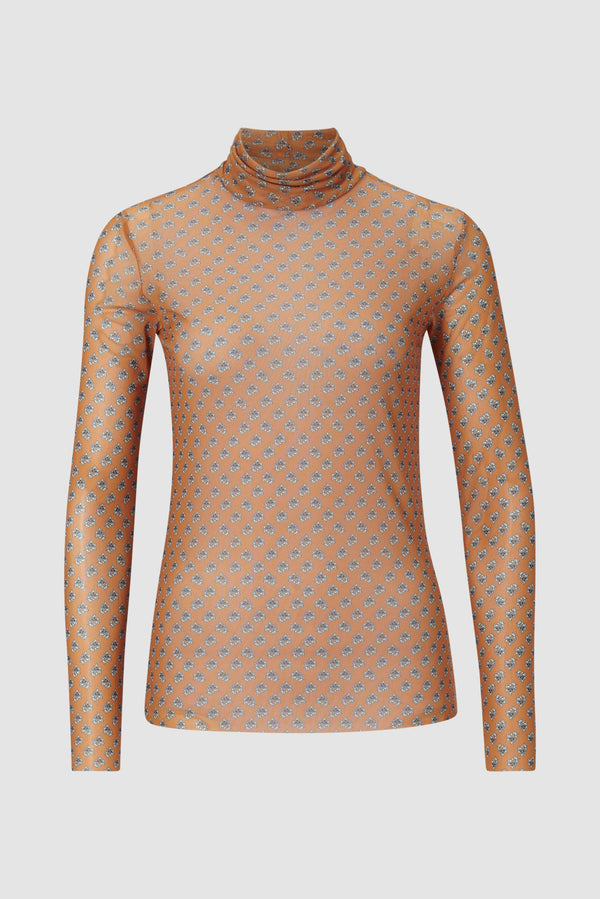 Rich & Royal - Long-sleeved mesh top with floral print - Büste