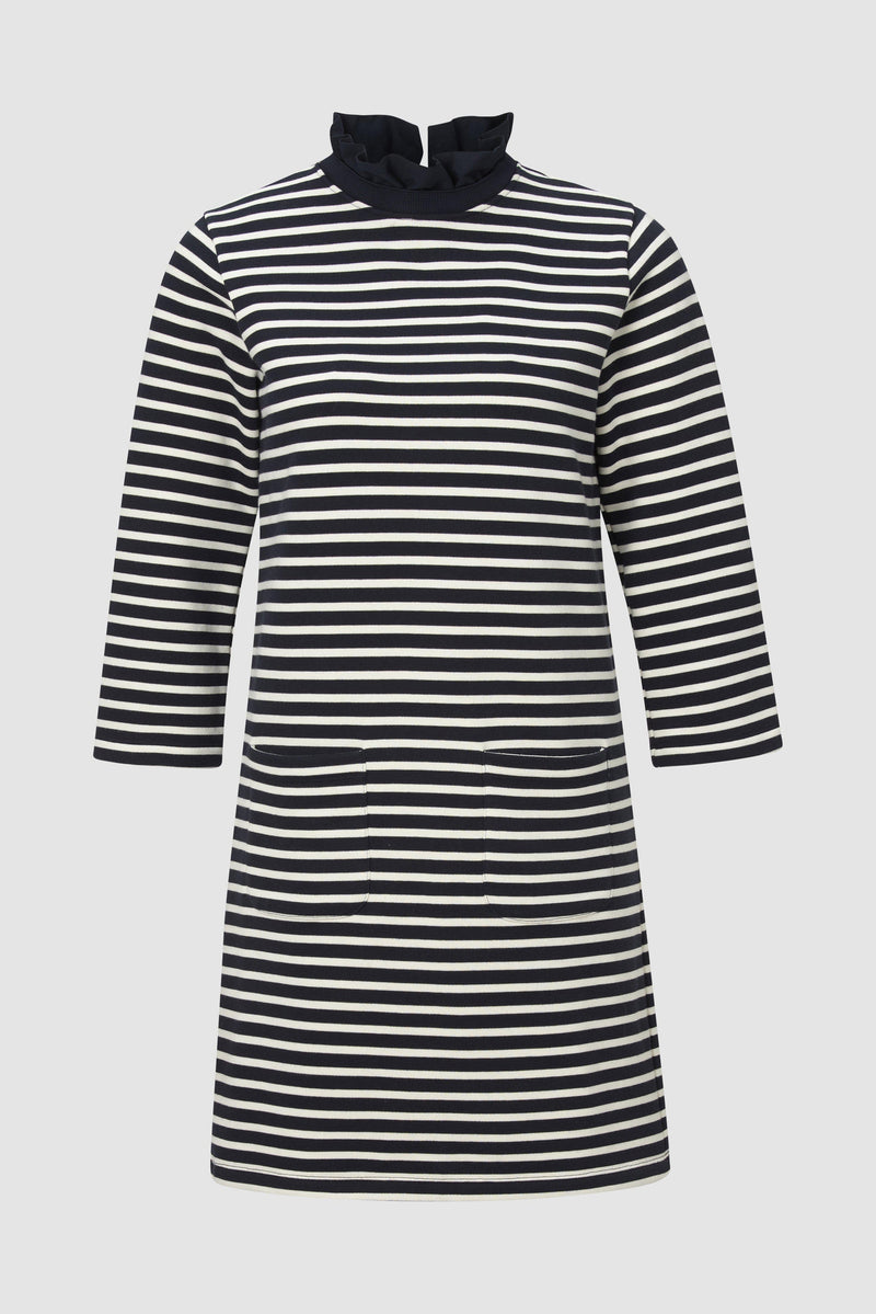 Striped dress with frilled collar