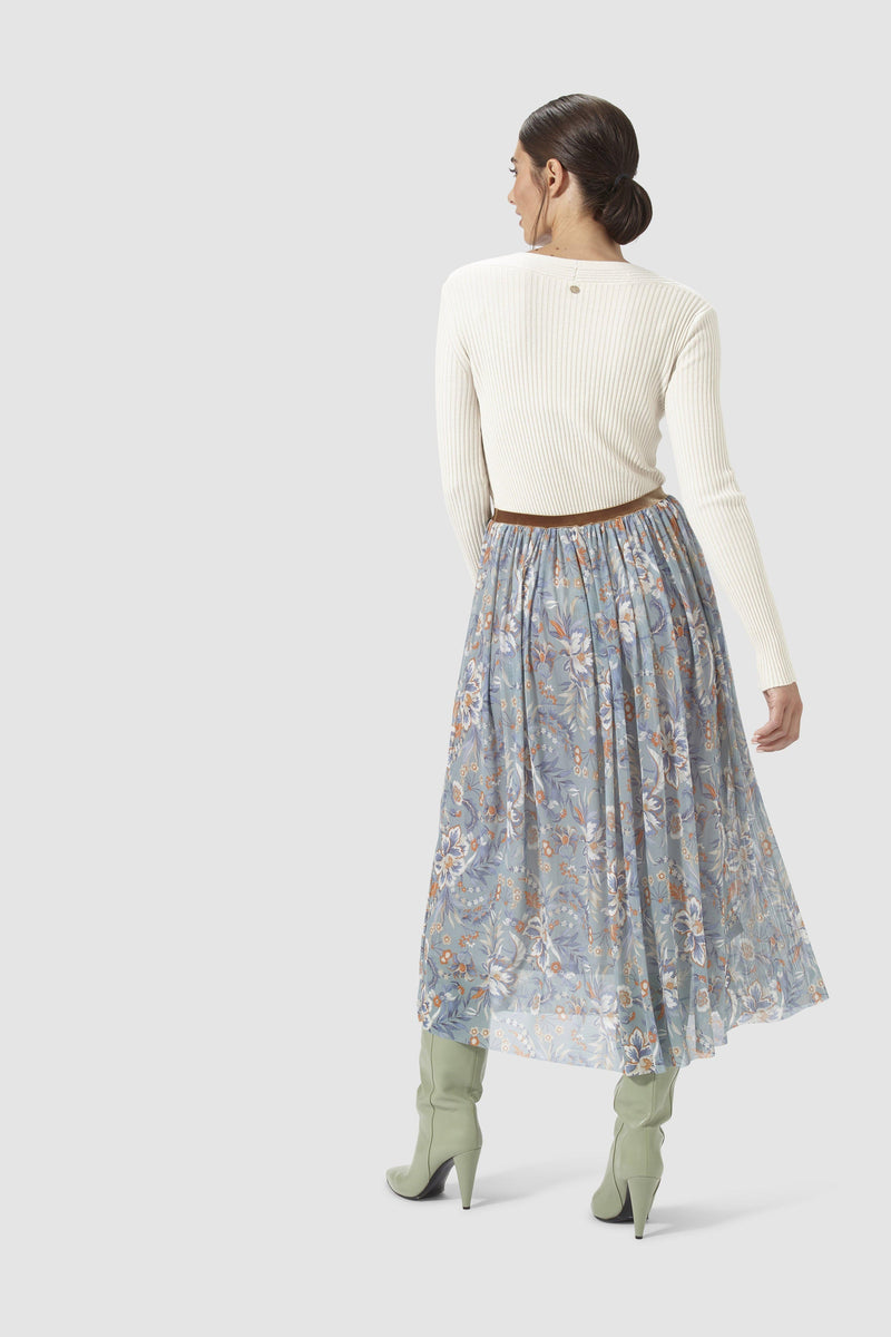 Rich & Royal - Mesh skirt with floral print - model image back