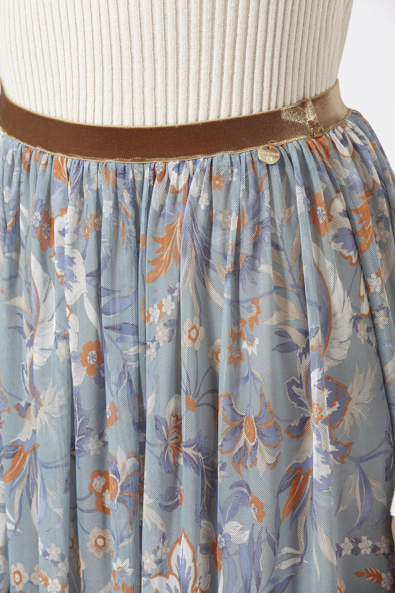 Rich & Royal - Mesh skirt with floral print - detail view