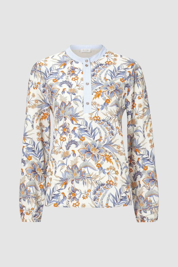 Rich & Royal - Printed blouse in material mix - bust