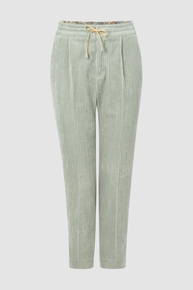 Rich & Royal - Corduroy jogger-style trousers with leather waistband - bust